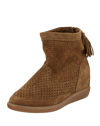Beslay Perforated Suede Bootie, Medium Gray