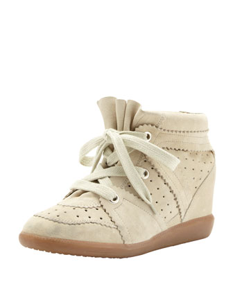 Bobby Low-Rise Perforated Wedge Sneaker, Ivory