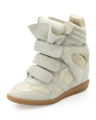 Beckett Suede Wedge Sneaker, Cream