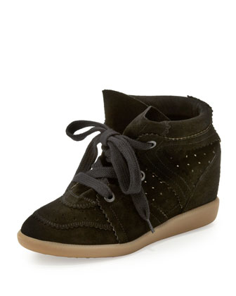 Bobby Low-Rise Perforated Wedge Sneaker, Black