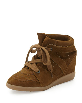 Bobby Low-Rise Perforated Wedge Sneaker, Camel