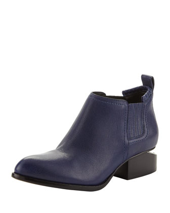 Kori Leather Lift-Heel Ankle Bootie, Indigo