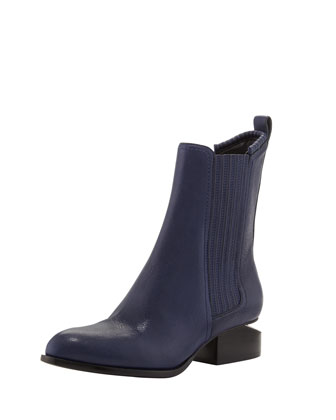 Anouk Leather Notch-Heel Bootie, Indigo