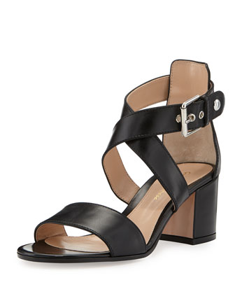 Buckled Leather Crisscross Sandal, Black