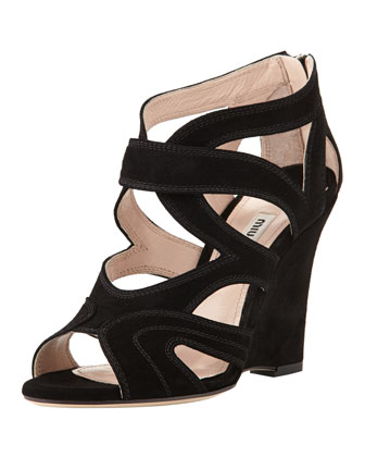 Cutout Suede Wedge Sandal