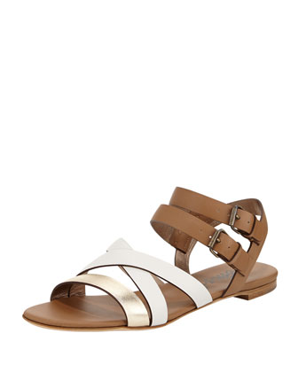 Strappy Double-Buckle Flat Sandal, White