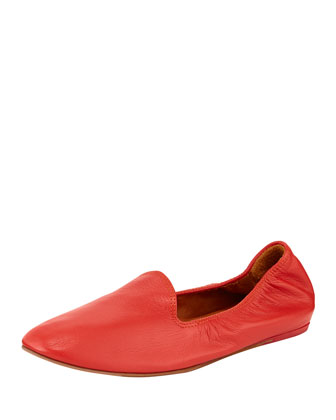 Leather Scrunch Slipper, Red