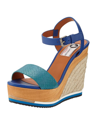 Multicolor Combo Wedge Sandal, Green