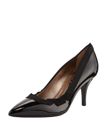 Patent Grosgrain-Collar Pointy Pump
