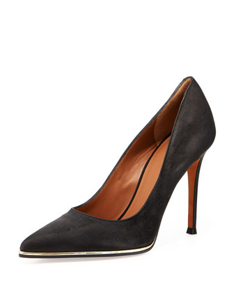 Nubuck Metal-Midsole Pointy Pump, Black