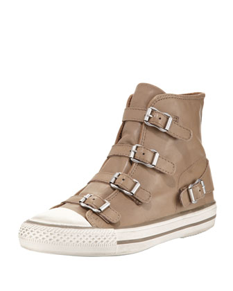 Virgin Buckled High-Top Sneaker, Taupe