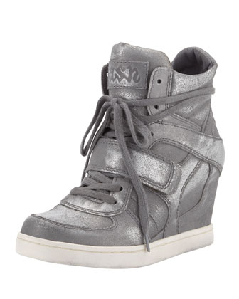 Cool Ter Metallic High-Top Wedge Sneaker, Gray