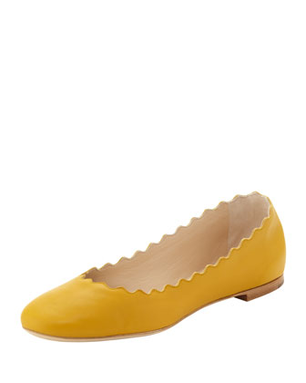 Scalloped Leather Ballerina Flat, Sand