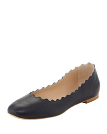 Scalloped Leather Ballerina Flat, Navy