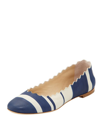 Scalloped Striped Ballerina Flat