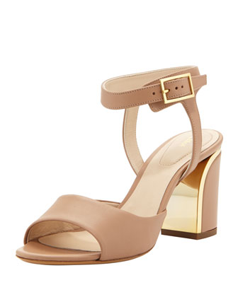 Metal-Trimmed Ankle-Wrap Sandal