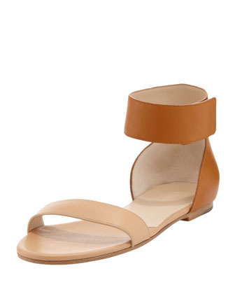 Two-Tone Ankle-Band Flat Sandal, Sand