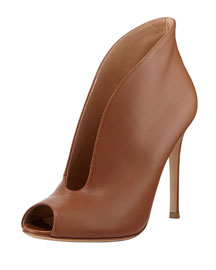 Leather Split Peep-Toe Bootie