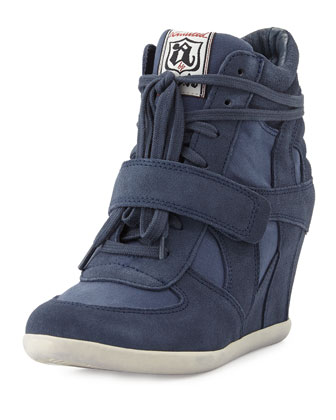 Bowie Suede and Canvas Wedge Sneaker, Navy