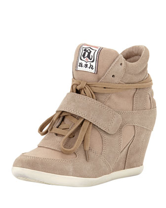 Bowie Suede and Canvas Wedge Sneaker, Taupe