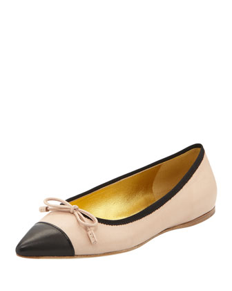 Leather Cap-Toe Bow Skimmer, Beige