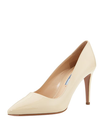 Vernice Pointed-Toe Pump, Cream