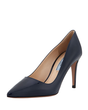 Vernice Pointed-Toe Pump, Blue