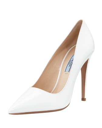 Vernice Pointed-Toe Pump, White