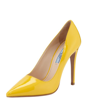 Vernice Pointed-Toe Pump, Yellow