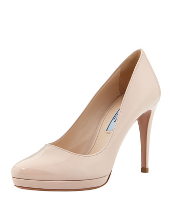 Patent Round-Toe Platform Pump, Light Pink