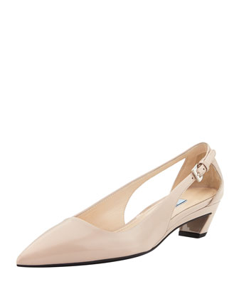 Patent Low-Wedge Pointed Pump, Light Pink