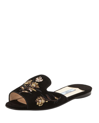 Embroidered Open-Toe Slide, Black