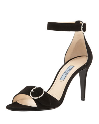 Buckled Suede Ankle-Strap Sandal, Black