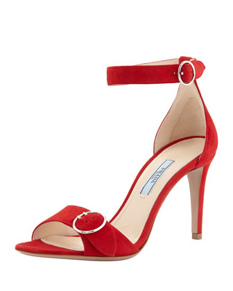 Buckled Suede Ankle-Strap Sandal, Red