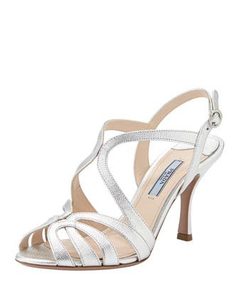 Metallic Saffiano Strappy Sandal, Silver
