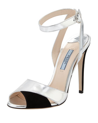 Suede and Specchio Ankle-Strap Sandal, Black/Silver