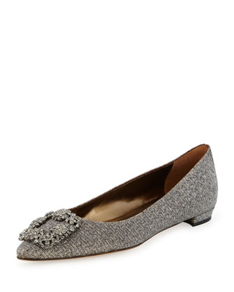 Hangisi Crystal-Buckle Lam?? Flat, Metallic Gray
