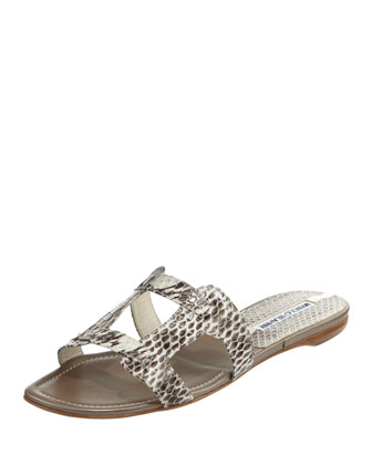 Grella Pieced Snakeskin Slide, Black/White