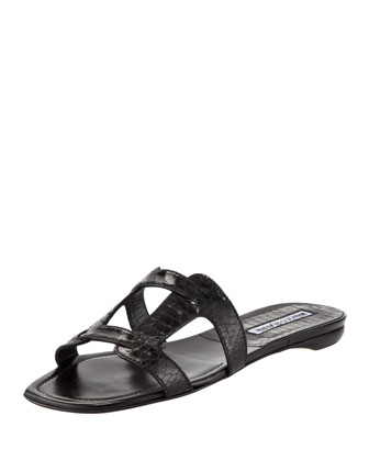 Grella Pieced Snakeskin Slide, Black