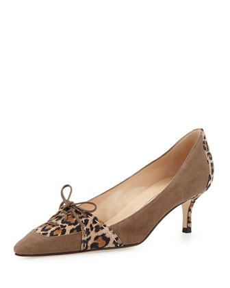 Chunny Leopard-Print Bow Pump, Light Gray