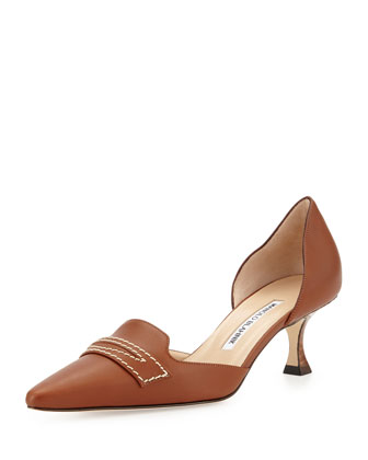 Angedo Kitten-Heel Penny-Strap Pump, Medium Brown