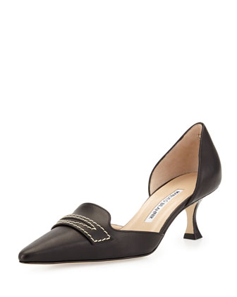Angedo Kitten-Heel Penny-Strap Pump, Black