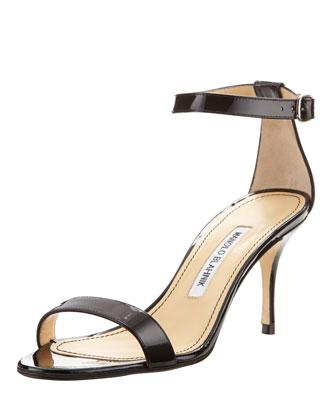 Chaos Patent Ankle-Strap Sandal, Black