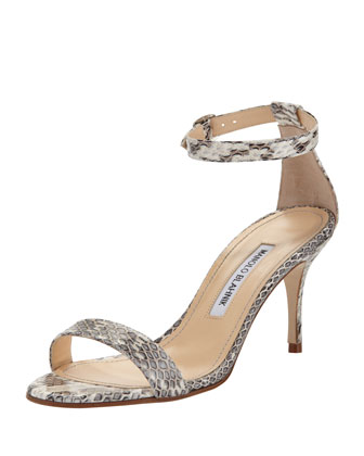 Chaos Snakeskin Ankle-Strap Sandal, Gray