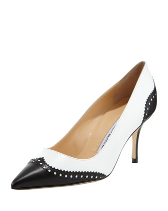 Ancor Two-Tone Spectator Pump, Black/White