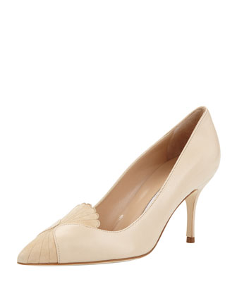 Ponte Scalloped-Detail Leather Pump, Beige