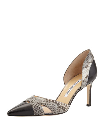 Crux Snake/Leather d'Orsay Pump, Black