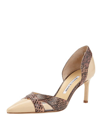 Crux Snake/Leather d'Orsay Pump, Beige