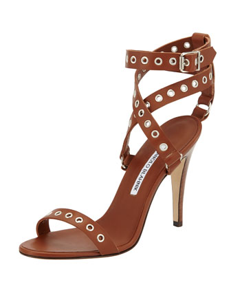Kayapo Grommet Ankle-Wrap Sandal, Brown
