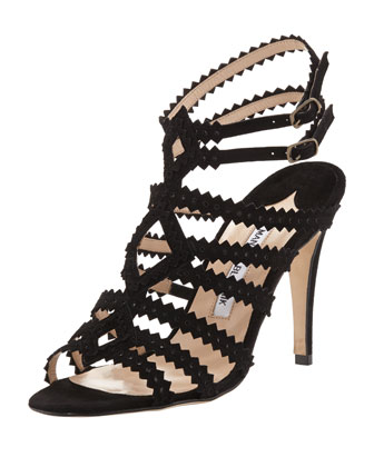 Ries Pinked Strappy Sandal, Black